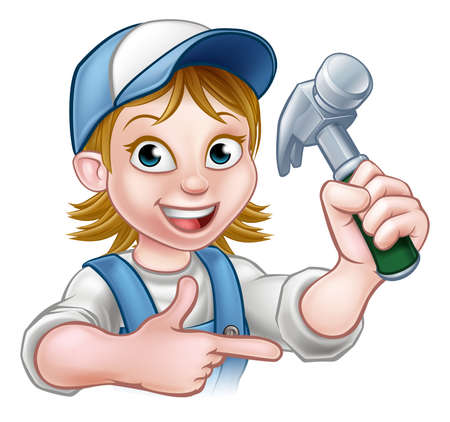 A woman carpenter cartoon character holding a hammer and pointing