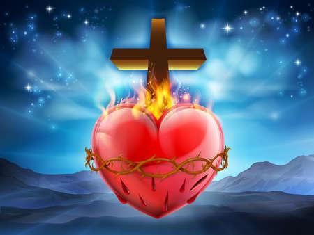 Christelijk Heilig Hart, dat de goddelijke liefde van de Jezus Christus voor de mensheid vertegenwoordigt. Stockfoto - 78185075
