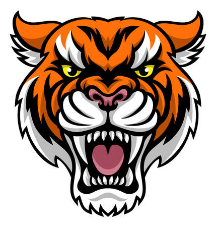 An angry looking tiger mascot animal character