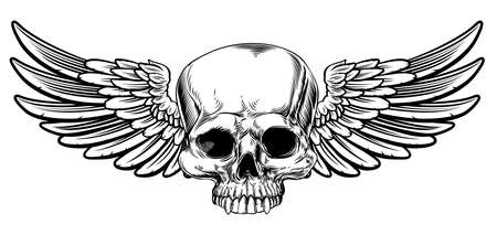 Winged skull vintage woodcut etched or engraved style drawing Illustration