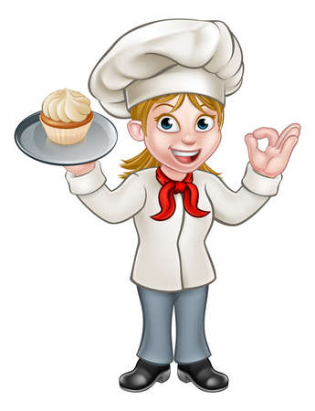 A cartoon woman pastry chef or baker character holding a plate with a cupcake or fairy cake on it