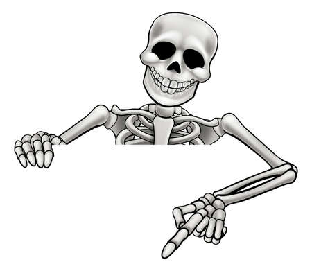 A skeleton Halloween cartoon character peeking over a sign and pointing Vectores