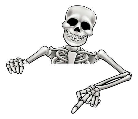 Un personaje de dibujos animados de Halloween de esqueleto peeking sobre un signo y apuntando