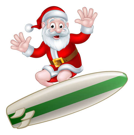 Santa surfing and waving from his surfboard Christmas illustration