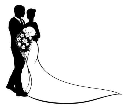 Een bruid en bruidegom bruiloft paar in silhouet met in een bruidsjurk jurk bedrijf een bloemen boeket bloemen