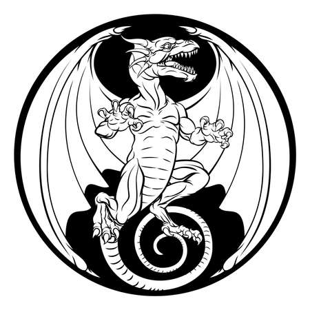 A dragon illustration in a circular design