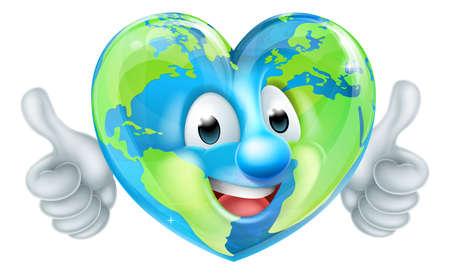 Eine Welt Erde Tag Herz geformt Maskottchen Globus Cartoon Charakter geben Daumen hoch