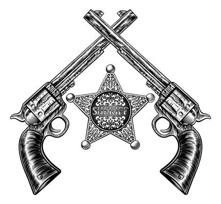 A sheriff star badge and pair of crossed revolver handgun pistols drawn in a vintage retro woodcut etched or engraved style
