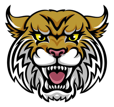An angry looking wildcat or bobcat mascot animal character