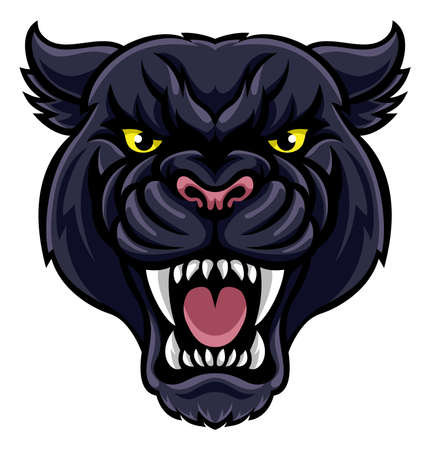 An angry looking black panther mascot animal character  イラスト・ベクター素材