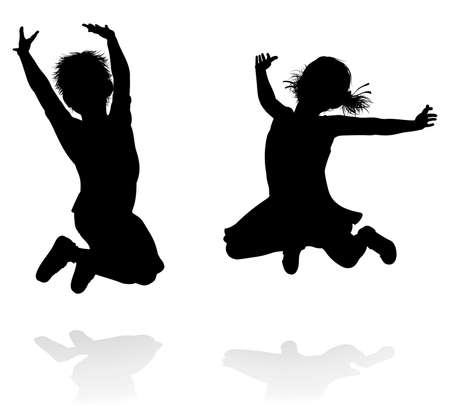 Happy boy and girl silhouette kids or children jumping Vectores