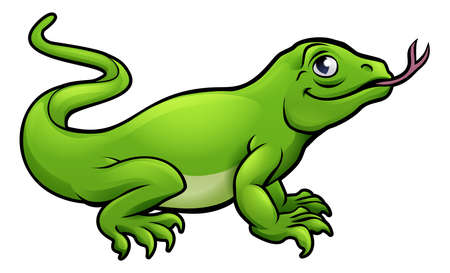 A Komodo dragon lizard cute cartoon character