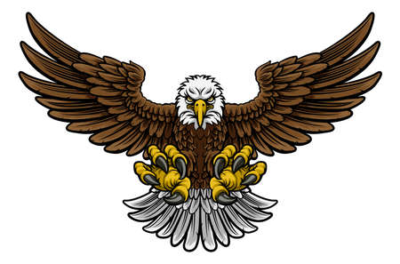 Een Amerikaanse mascotte van de beeldverhaal kale adelaar stoten met klauwen uit en uitgestrekte vleugels uitgespreid