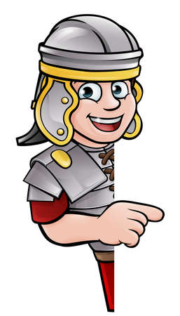 An ancient Roman soldier cartoon character peeking around a sign and pointing at it