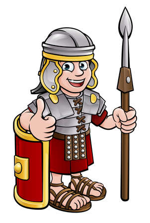 A Roman soldier cartoon character holding a spear and giving a thumbs up
