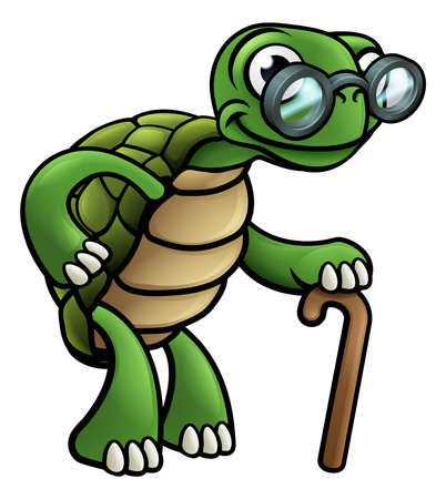 An elderly senior tortoise cartoon character with spectacles glasses and cane walking stick