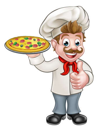 Cartoon chef cook character holding a pizza and giving a thumbs up Illustration