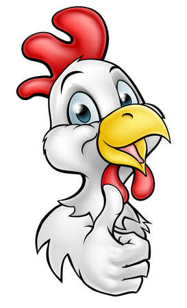 Chicken or rooster cartoon character smiling and giving a thumbs up