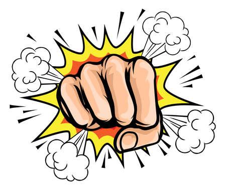 コミック クラッシュ爆発グラフィックのポップアート漫画拳  イラスト・ベクター素材