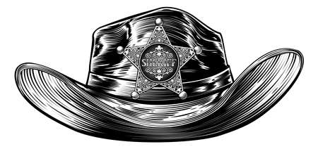 Cowboy sheriff hat with star badge drawing in a vintage retro woodcut etching engraving style Illustration