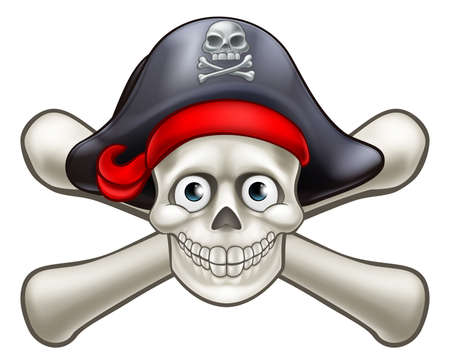 Skull and crossbones Jolly Roger pirate cartoon character