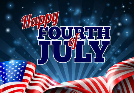 Happy Fourth of July Independence Day background with an American Flag design