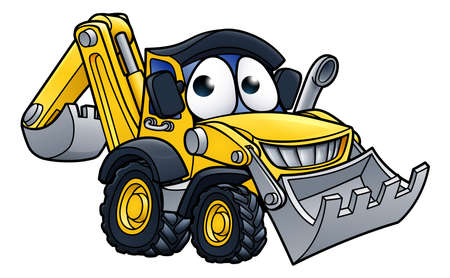 Bulldozer digger construction vehicle cartoon character mascot illustration