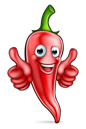 An illustration of a red chilli pepper cartoon character giving thumbs up Illustration