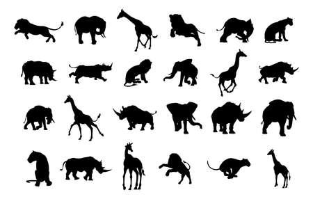 Conjunto de silueta de animal de safari africano que incluye elefantes, jirafas, rinocerontes y leones