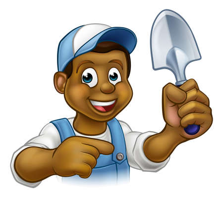 A cartoon black gardener holding a gardening tool and pointing Illustration