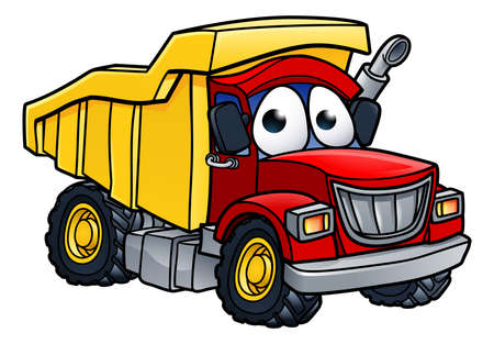 Cartoon character dump tipper truck lorry construction vehicle illustration