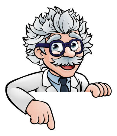 A cartoon scientist professor wearing lab white coat peeking above sign and pointing at it