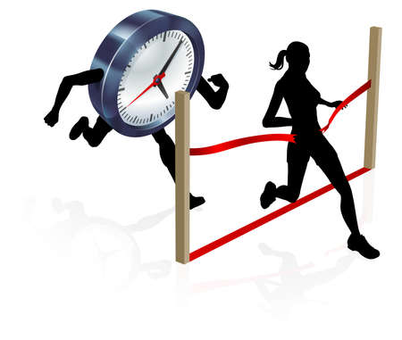 A woman running against a clock character beating it to the finish line to win