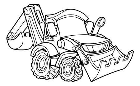 Bulldozer digger construction vehicle cartoon Vettoriali