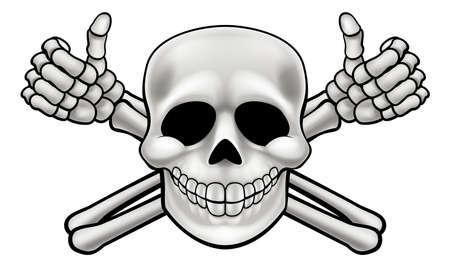 Cartoon Halloween-piraatschedel en de skeletonenduimen van dwarsbeenderen op illustratie