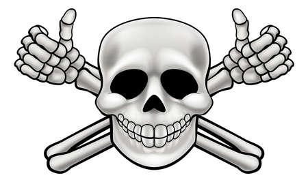 Cartoon Halloween pirate skull and crossbones skeleton thumbs up illustration