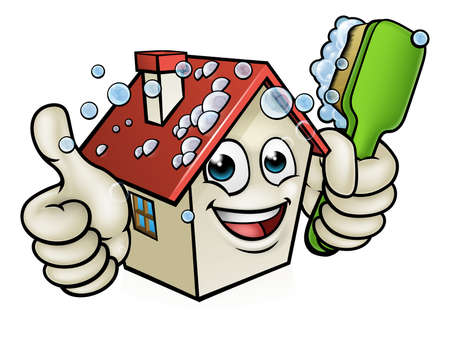 A happy cartoon house man mascot character holding scrubbing cleaning brush and giving a thumbs up Stock Illustratie