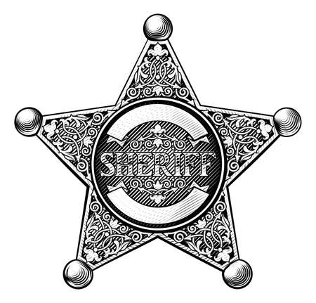 Sheriff badge star in a vintage etched engraved style Illustration