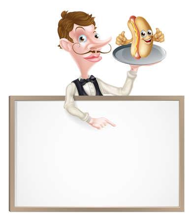 An Illustration of a Cartoon Hotdog Waiter Butler Signboard Иллюстрация