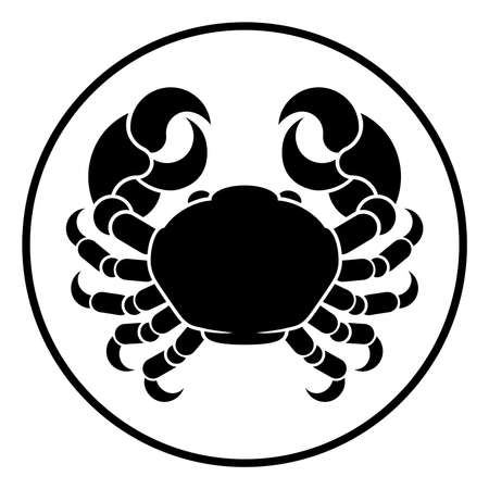Cancer crab horoscope astrology zodiac sign symbol Illustration