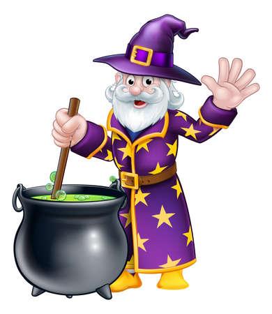 A cartoon Halloween wizard character stirring a cauldron and waving Illustration