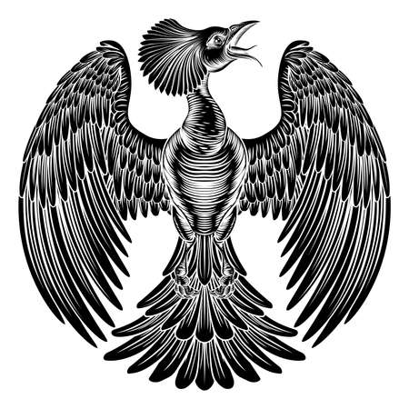 ヴィンテージ レトロなエッチング木版彫刻スタイルでフェニックス火の鳥  イラスト・ベクター素材