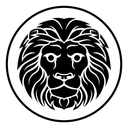 Circle Leo lion horoscope astrology zodiac sign icon