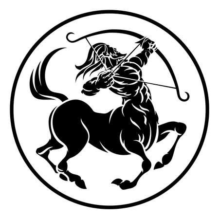Círculo Sagitario arqueador centaur horóscopo astrología signo zodiacal icono. Ilustración de vector