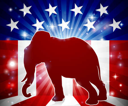 An elephant in silhouette with an American flag in the background republican political mascot animal Illustration