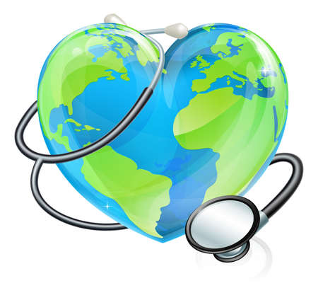 A heart earth world globe with a stethoscope wrapped around it.