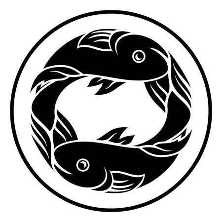 Astrology Horoscope Zodiac Signs Circular Pisces Fish Symbol