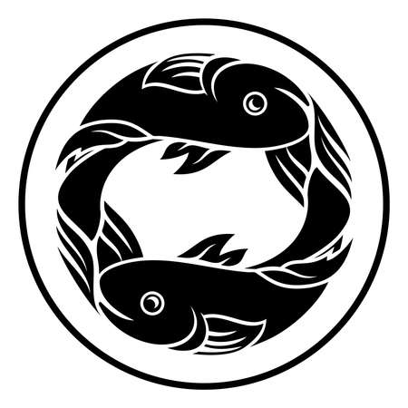 Astrology horoscope zodiac signs, circular Pisces fish symbol Illustration
