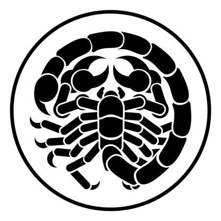 Icono de signo de zodiaco de astrología de escorpión escorpión horóscopo de escorpión Foto de archivo - 80405149