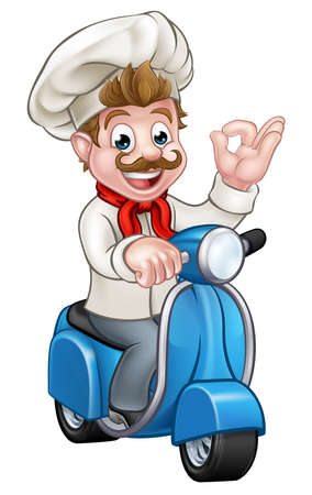 Cartoon chef or baker character riding a delivery moped motorbike scooter and giving a perfect okay delicious cook gesture